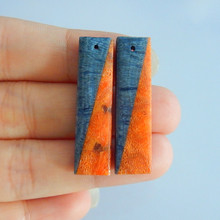 Fashion,Orange coral,Blue fossil coral,Gemstone earring bead,35x9x4mm,4.9g(China)