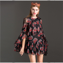 Topshop Vintage Dresses New Women 2017 Summer Flowers Print Cloak Sleeves Black Patchwork Above Knee Fashion Dress