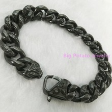 59G New Design 316L Stainless Steel Classic Black Forged Chain Bracelet Enchantment  Men's Boy's Jewelry 22CM*13mm High Quality