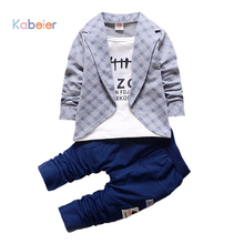 Toddler Boys Set Party Clothing 2PCS Newest Style Kids Blouses And Plaid Top Suit Toddler Gentleman Outfits Set 0 1 2 3 4 Years(China)