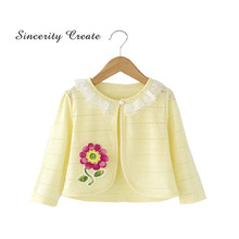 Spring Autumn Baby Cardigan Cotton Embroidery Lace Baby Jacket Girls Coat For 2 3 4 Years Baby Girl Clothes KC-1627