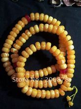 BRO682 Tibetan 108 Yellow Beeswax MILA amber prayer beads Rosaries,12*9mm,Imitative amber beaded necklace,best offer(China)