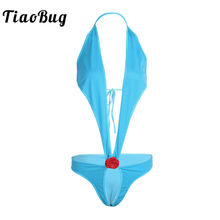 Buy TiaoBug Blue Sexy Women Lingerie Open Crotch Crotchless Bodysuit Flower Female Swimwear Erotic Teddies Body Suit Porno Costume