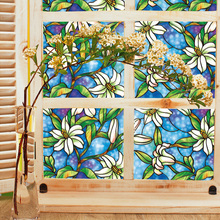 PVC Privacy Window Decorative Films Orchid Window Film Stained Glass Stickers Home Privacy DIY Decoration 45cm*100cm E5M1(China)