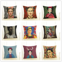 Cushion Cover Frida Kahlo Pillow Case Firm Flower Butterfly Throw Pillow Cover Self-portrait Sofa Bedroom Home Decorative 45x45c(China)