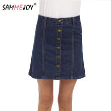 SAMMEJOY 5XL 2017 brand new arrival denim skirts womens straight jeans buttoned front buckle sexy mini skirts 2059(China)