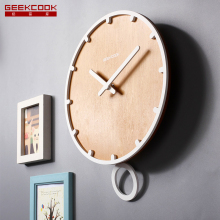 12 inch 30cm Large Wooden Swing Pendulum Wall Clock Quartz Movement Watch for Living Room Office Home Decoration