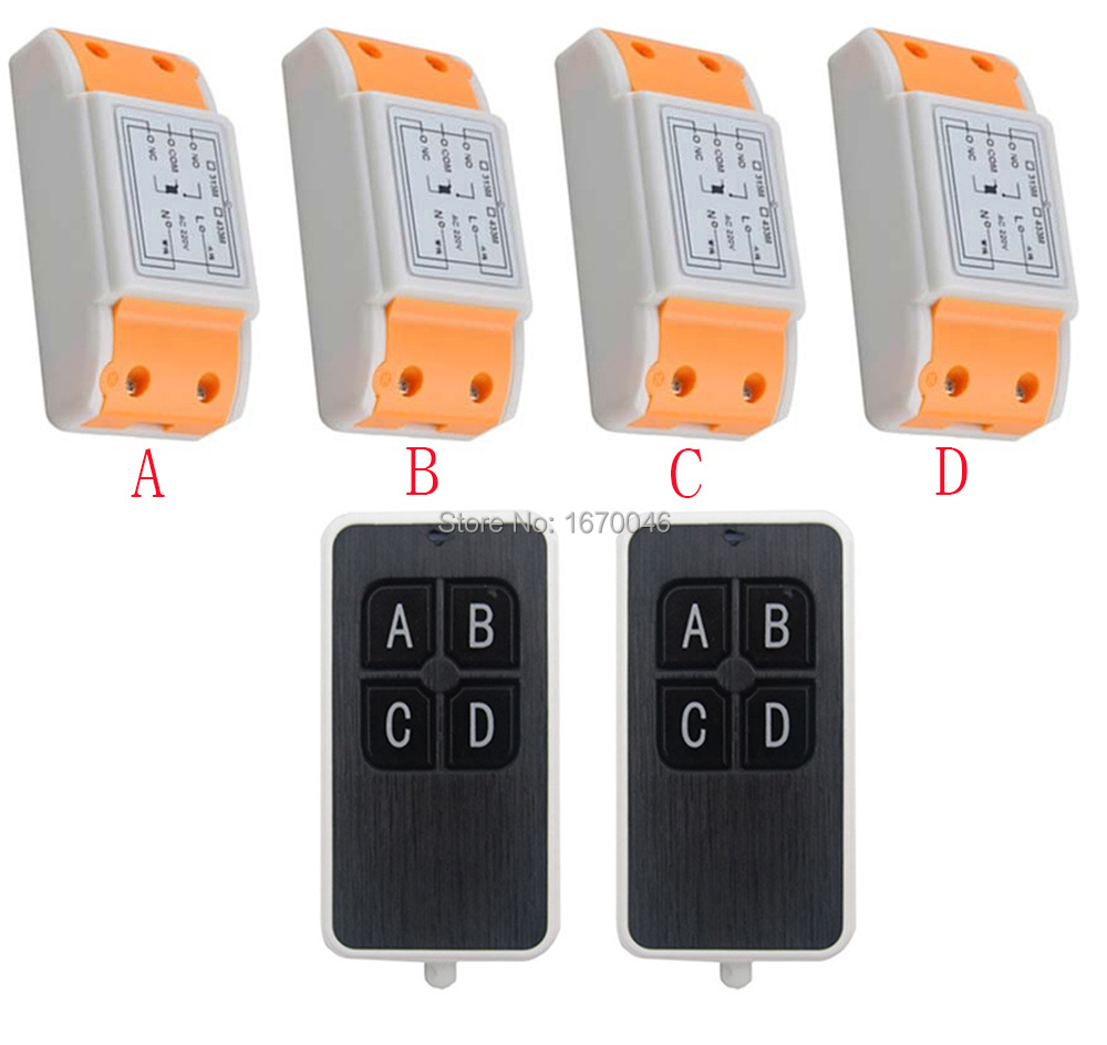 New AC220V 1CH 10A wireless remote control switch system 2X Transmitter + 4X Receiver relay smart house z-wave<br>