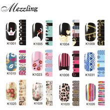 Sexy adhesive Nail Stickers,2sheets/lot Cartoon Flowers Nail Tips Wraps,DIY Nail Beauty Supplies,Nail Patch Art Decoration Tool