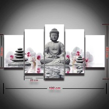 5 pieces Printed artistic Buddha flower picture painting landscape wall art living room home decor Canvas Print artwork framed