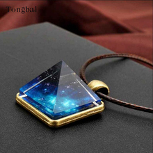 Tongbai Starry Sky Noctilucent Pyramid Geometric Pendant Necklace For Men's jewelry Glow In The Dark Luminous Necklace Gift