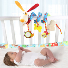 Happy Monkey 4 Styles Baby Toys Soft Infants Car Pendant Strollers Colorful Bed Hanging Rattles Spiral activity toys(China)
