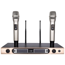WEISRE U-3316 Professional Portable Microphone 720-770MHz UHF Wireless Handheld 2 Channel Transmitter Microphone Set for karaoke