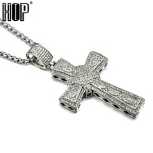 HIP Hop Titanium Stainless Steel Full Micro Pave Rhinestone Iced Out Bling Cross Pendants Necklaces for Men Jewelry(China)