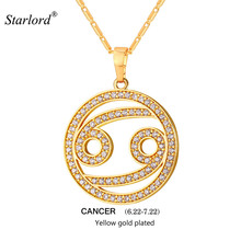 2017 Zodiac Charms CANCER Pendant Necklace Simple Design Jewelry Gift Rhinestone Gold/Silver Color Necklace For Men/Women P2506(China)