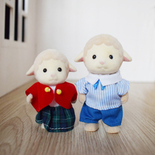 2PCS Cute Mini Sylvanian Families Dolls Sheep Brother and Sister with Clothes Animal Figure Toy(China)