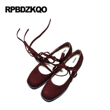 Flats 2017 Unique Chic Ladies Women Retro Fashion Shallow Suede Genuine Leather Beautiful Shoes Lace Up Leisure Red Wine Square