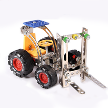 1 Set Educational DIY Assembling Alloy Puzzle Forklift Metal Assembly Nut Combination Car Military Vehicles Model Baby Kids Toys(China)