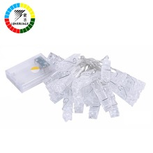Coversage 20 Leds Photo Clip Pegs Hanging Picture Lights Christmas Garland Battery String Xmas Decoration Fairy Holiday Lights