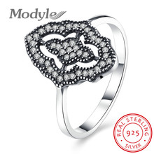 Modyle 2017 New Collection Authentic Sparkling Lace Stunning Ring with Clear CZ Ring 100% 925 Sterling Silver Jewelry