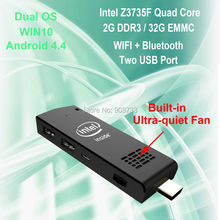 WoYi W5 MINI PC Intel aton Z3735F 2G/32G WIFI Bluetooth Windows 10 Android 4.4 dual OS Built-in Fan win10 Compute Stick T03