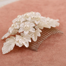 Factory direct European and American popular alloy insert comb hair handmade pearl bridal hair comb plate spot wholesale(China)
