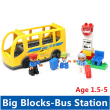 Yellow City Bus Station Set Big Building Blocks Baby Toys Educational Toys