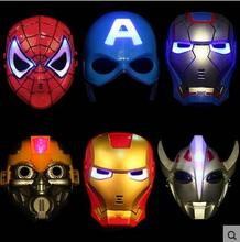 LED Glowing superhero mask for kid & adult with music Avengers Marvel Captain America Spiderman Hulk Iron man Batman party mask