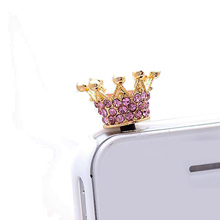 CellPhones Pink Rhinestone Crown Style Earphone Jack Anti Dust Plug for iPhone 5 5S 6 iPad Mini 3 4 Samsung Galaxy S4 HTC Google