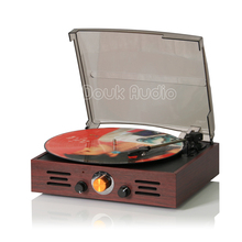 Douk Audio Nostalgic Classic 3-Speed Stereo Turntable Phonograph LP Vinyl Record Player AM/FM Radio Built-in Speakers