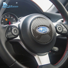 Airspeed Carbon Fiber Car Steering Wheel Emblem Stickers Decorative Cover Trim for subaru BRZ 2013 2014 2015 2016 up Car Styling(China)