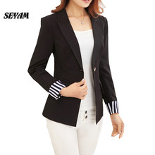 SEYAM Black Blazers Women Fashion Stripe Patchwork Sleeve Slim Fit Office Elegant Female Blazer Feminino Jacket ow0251