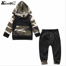 Kimocat New Autumn and winter baby boy clothes baby born Camouflage hats long suit 2 PCS camouflage with hood fleece + leisu(China)