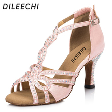 DILEECHI Pink satin Latin dance shoes Rhinestones female soft outsole Ballroom dancing shoes adult sneakers for women 7.5cm(China)