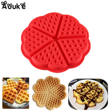 Round Waffle Silicone Mould Waffles Cake Chocolate Pan Fondant Silicone Molds for cake decorating Baking Mould Donut Maker D072