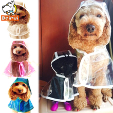 Waterproof Dog Raincoat Transparent High Quality Hooded Poncho Puppy Rainwear Rain Jacket for Small Medium Large Dogs(China)