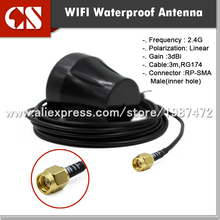 Free shipping External 2.4G wifi waterproof antenna, receiver antenna,3M RG174 RP SMA Male (inner hole) 2pcs/Lot(China)