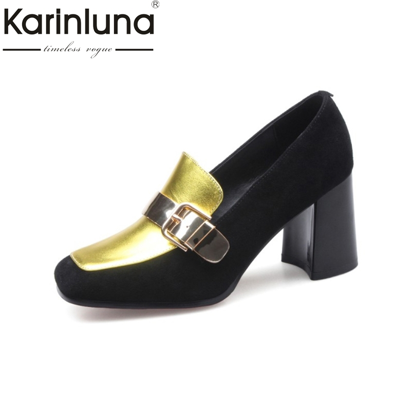 KARINLUNA Brand New Genuine Leather Women Shoes Woman Fashion Vintage Mixed Color High Heeled Party Date Pumps Lady Footwear<br>
