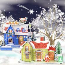 Christmas juguetes Gift Cottage DIY Handmade Puzzle Snow Cartoon House Model Decoration toys for children brinquedos #XTT(China)
