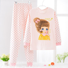 Clothing set Pijamas pyjamas kids Pyjama fille Girls warmed Pajamas sets Cotton fleece children Pijama set for Winter 6y-14y(China)