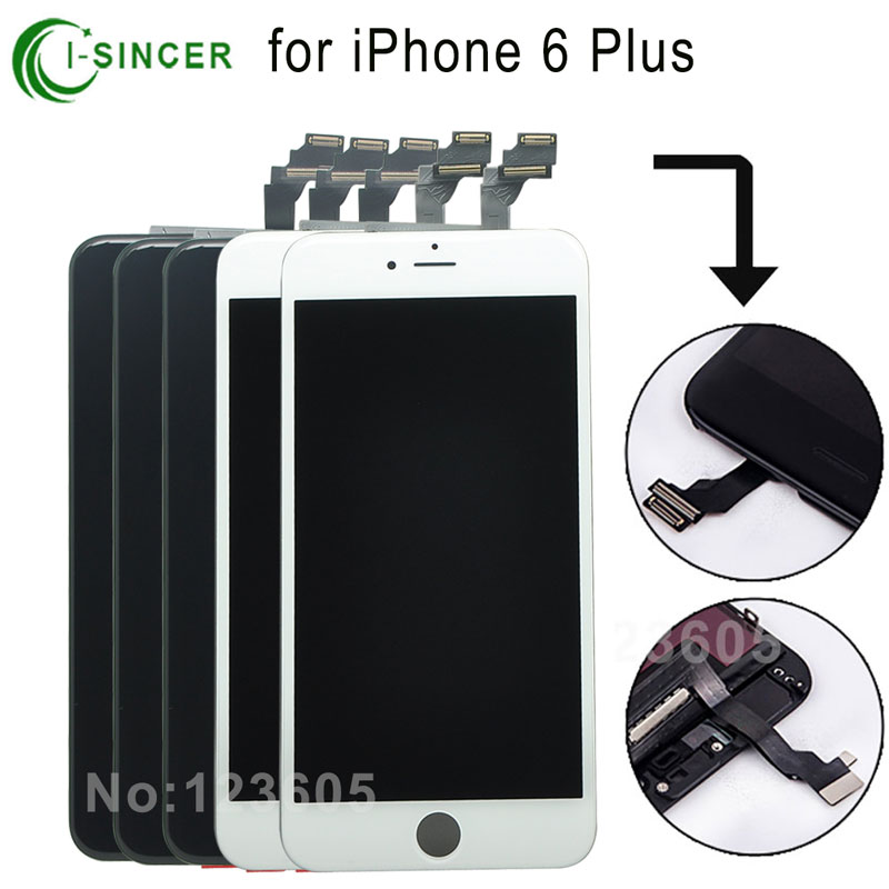 5PCS/LOT 5.5 For iPhone 6 Plus LCD Display Screen Touch Digitizer Assembly Replacement Black/White Free DHL<br><br>Aliexpress