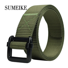 [SUMEIKE] New Arrival 2017 Black Metal Belt Nylon Mens Belts Canvas Army Green Male Waist Strap(China)