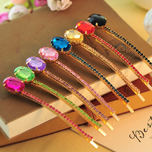 Candy Color Fashion Hair Jewelry Stone Hair Clip Crystal Hairpin Hair Rhinestone Barrette For Girls Women