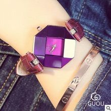 HK Brand GUOU Fashion Ladies Genuine Leather Top Quality Retro Simple Perfume bottle cut face fashion diamond watch giving gifts