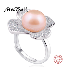 [MeiBaPJ]Classic 925 silver ring with 100% genuine freshwater pearl ring for women Grade AAAA 11.5-12mm white pearl promotion(China)