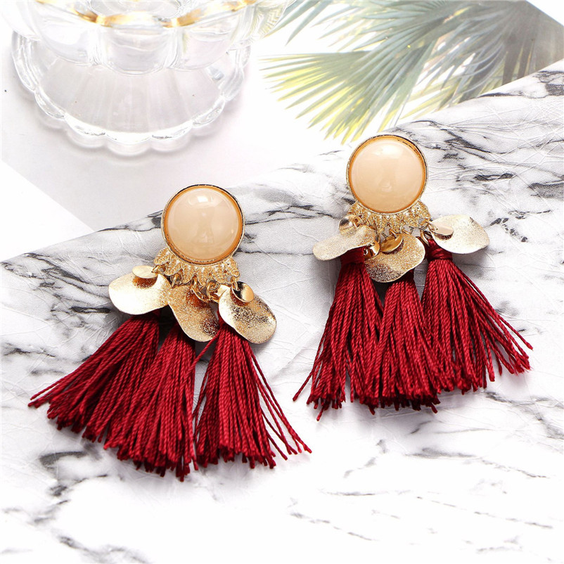2018 Trendry Earrings for Women Bohemian Fashion Weave Tassel Earrings Long Drop Earrings Jewelry for gift Brincos J05#N (5)