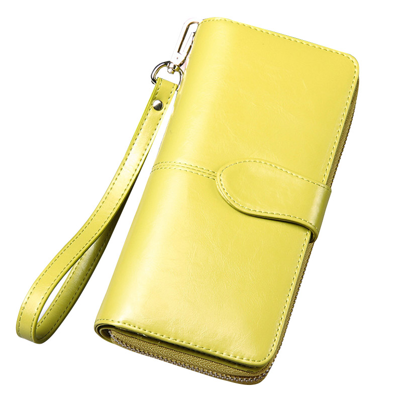 Elegant Fashion Ladies Bifold  Wallet Clutch Long Purse Women Oil Wax Genuine Leather Wallets Solid Multi-Card Position Purses<br><br>Aliexpress