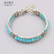 New vintage accessories jewelry silver color blue stone beads leaf bangle Valentine's Day lovers' gift B3408(China)