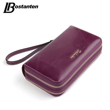 BOSTANTEN Cow Genuine Leather Women Wallet Long Double Zipper Purse Luxury Brand Coin Wallet female Designer Money Bag Wristlet