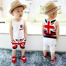 2017 Fashion Summer Baby Boys Clothes Sets Kids Sport Suits Flag Sleeveless T-Shirts Baby Clothing Vest + Pants Shorts Singlet
